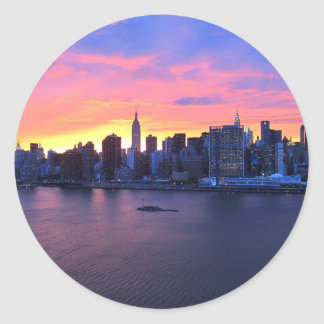 New York City Sunset Classic Round Sticker
