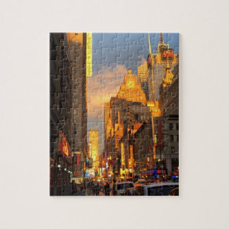 New York City Sunset Midtown Theatre District NYC Jigsaw Puzzle