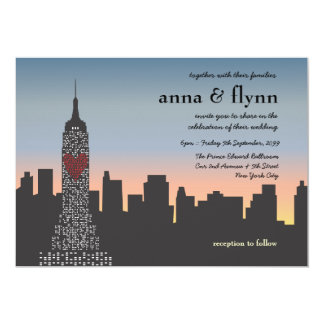 New York City Sunset Skyline Wedding Invitation