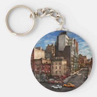 New York - City - The corner of 10th Ave & W 18th Basic Round Button Key Ring