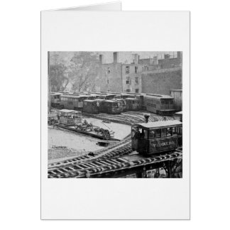 New York City Train on Elevated Railroad Yonkers Card