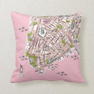 New York City travel map pillow present Cushions