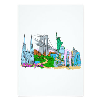 New York City - United States of America.png 13 Cm X 18 Cm Invitation Card