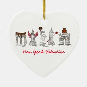 New York City Valentine's Day NYC Heart Landmarks Christmas Ornament
