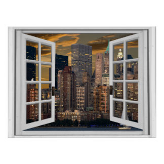 New York City View Fake Window Poster
