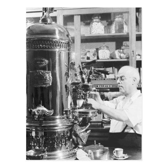 New York City Vintage Italian Espresso Shop Postcard