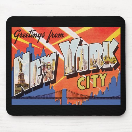 New York City Vintage Travel Mouse Pad