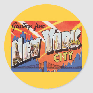 New York City Vintage Travel Round Sticker