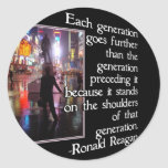 NEW YORK CITY W/ REAGAN QUOTE - GENERATIONS ROUND STICKERS