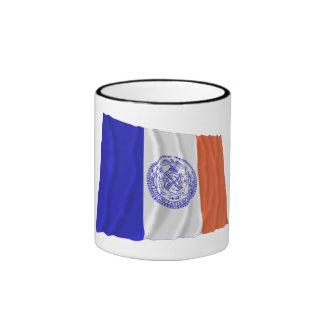 New York City Waving Flag Ringer Mug