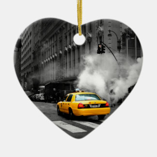 New York City Yellow Cab Ceramic Heart Decoration