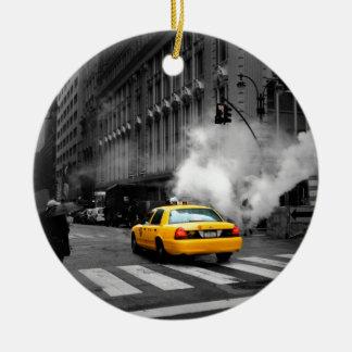 New York City Yellow Cab Round Ceramic Decoration