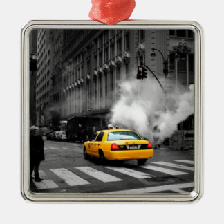 New York City Yellow Cab Silver-Colored Square Decoration