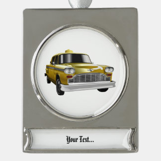 New York City Yellow Vintage Cab Silver Plated Banner Ornament