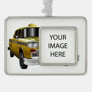 New York City Yellow Vintage Cab Silver Plated Framed Ornament