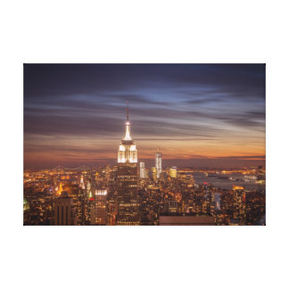 New York Cityscape Skyline - Skyscrapers at Sunset Stretched Canvas Print
