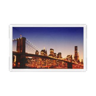 New York cityscape with bridge over river