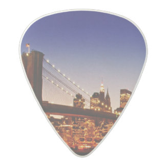 New York cityscape with bridge over river Acetal Guitar Pick