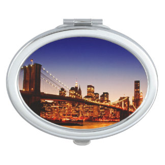 New York cityscape with bridge over river Compact Mirrors