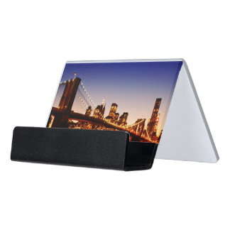 New York cityscape with bridge over river Desk Business Card Holder