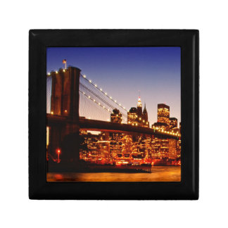 New York cityscape with bridge over river Gift Box