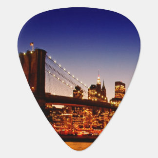 New York cityscape with bridge over river Guitar Pick