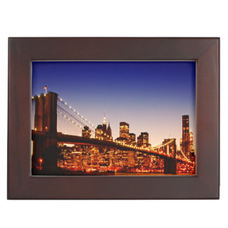 New York cityscape with bridge over river Keepsake Box