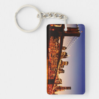 New York cityscape with bridge over river Acrylic Key Chains