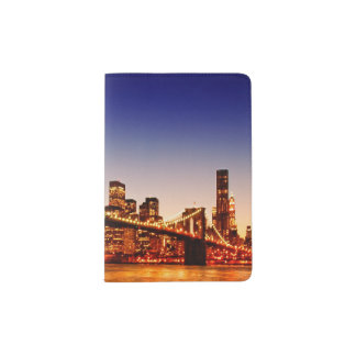 New York cityscape with bridge over river Passport Holder