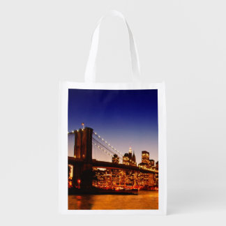 New York cityscape with bridge over river Reusable Grocery Bag