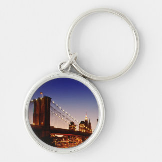 New York cityscape with bridge over river Silver-Colored Round Key Ring