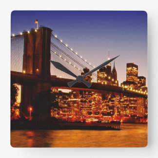 New York cityscape with bridge over river Square Wall Clock