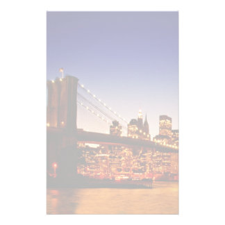 New York cityscape with bridge over river Stationery