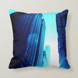 New York Color - Blue Building Throw Pillow