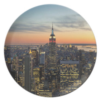 New York dawn skyline Plate