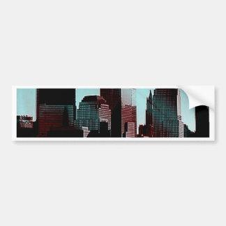 New York, digital effect, aqua Bumper Stickers