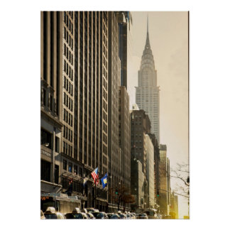 New York, E 42 St and Chrysler Building Poster