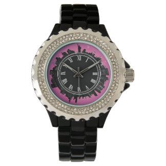 New York evening skyline pink Watch