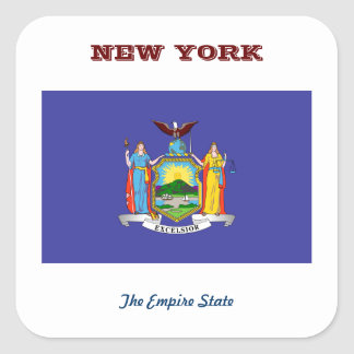 NEW YORK FLAG AND SLOGAN SQUARE STICKER