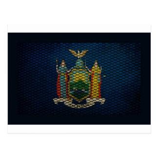 New York Flag expanded metal Postcard