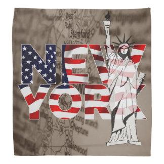 New York Flag Map Liberty Collage Bandana