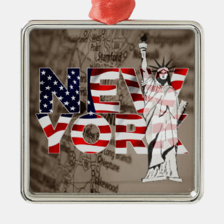 New York Flag Map Liberty Collage Christmas Ornament