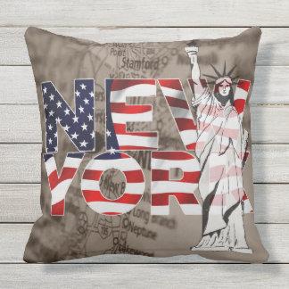 New York Flag Map Liberty Collage Cushion