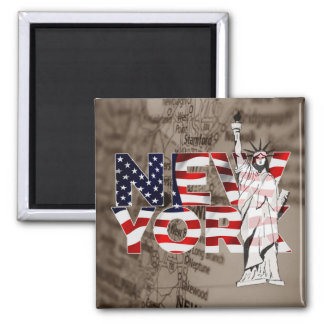 New York Flag Map Liberty Collage Magnet
