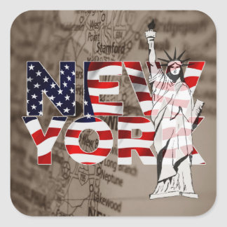 New York Flag Map Liberty Collage Square Sticker