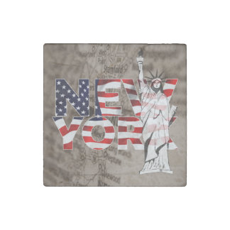 New York Flag Map Liberty Collage Stone Magnet