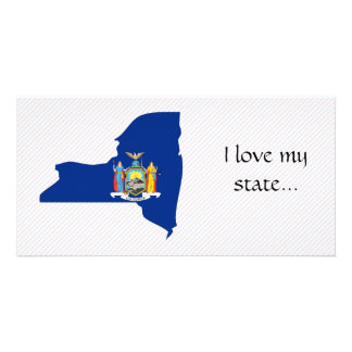 New York Flag Map Personalized Photo Card