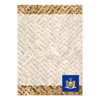 New York Flag on Textile themed 13 Cm X 18 Cm Invitation Card