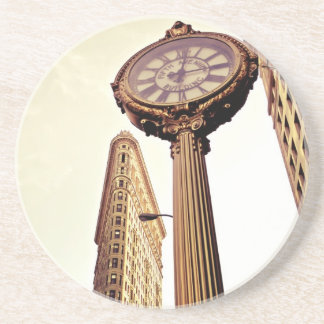 New York - Flatiron Building and Clock Coaster