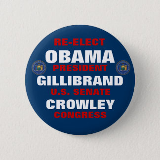New York for Obama Gillibrand Crowley 6 Cm Round Badge